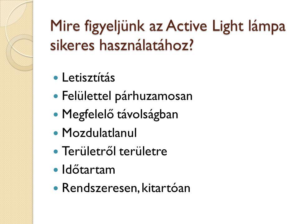 Mire figyeljünk az Active Light lámpa sikeres használatához? Letisztítás Felülettel párhuzamosan Megfelelő távolságban Mozdulatlanul Területről terüle