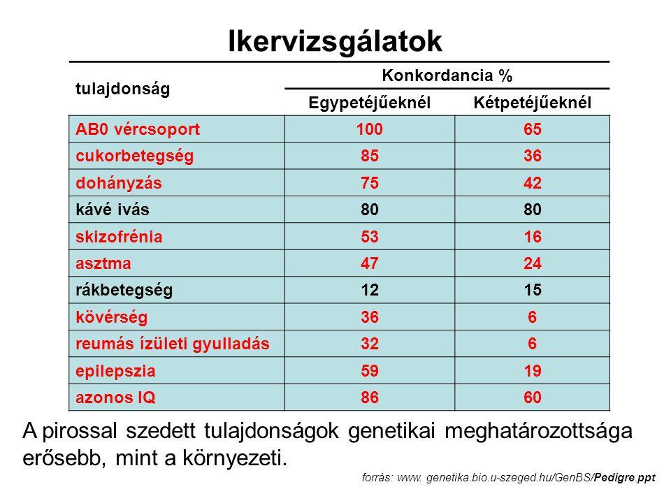 tulajdonság Konkordancia % EgypetéjűeknélKétpetéjűeknél AB0 vércsoport10065 cukorbetegség8536 dohányzás7542 kávé ivás80 skizofrénia5316 asztma4724 rák