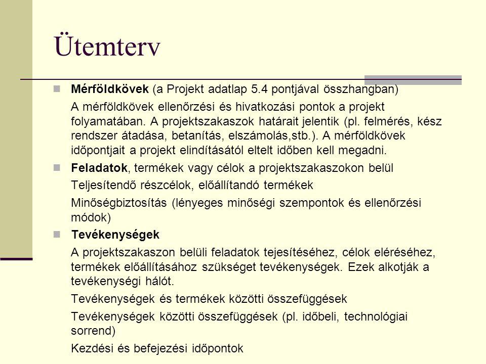 Projektszervezet A szervezet struktúrája, belső felépítése (szervezeti diagramm) Vezetői és szakmai szerepkörök, koordinátorok Felelőségi körök Munkac