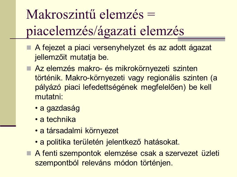 Erőforrásterv Szükséges emberi és egyéb erőforrások (pl.
