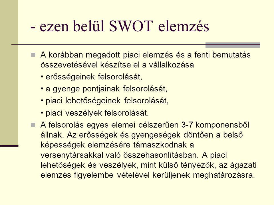 - ezen belül SWOT elemzés A korábban megadott piaci elemzés és a fenti bemutatás összevetésével készítse el a vállalkozása erősségeinek felsorolását, a gyenge pontjainak felsorolását, piaci lehetőségeinek felsorolását, piaci veszélyek felsorolását.