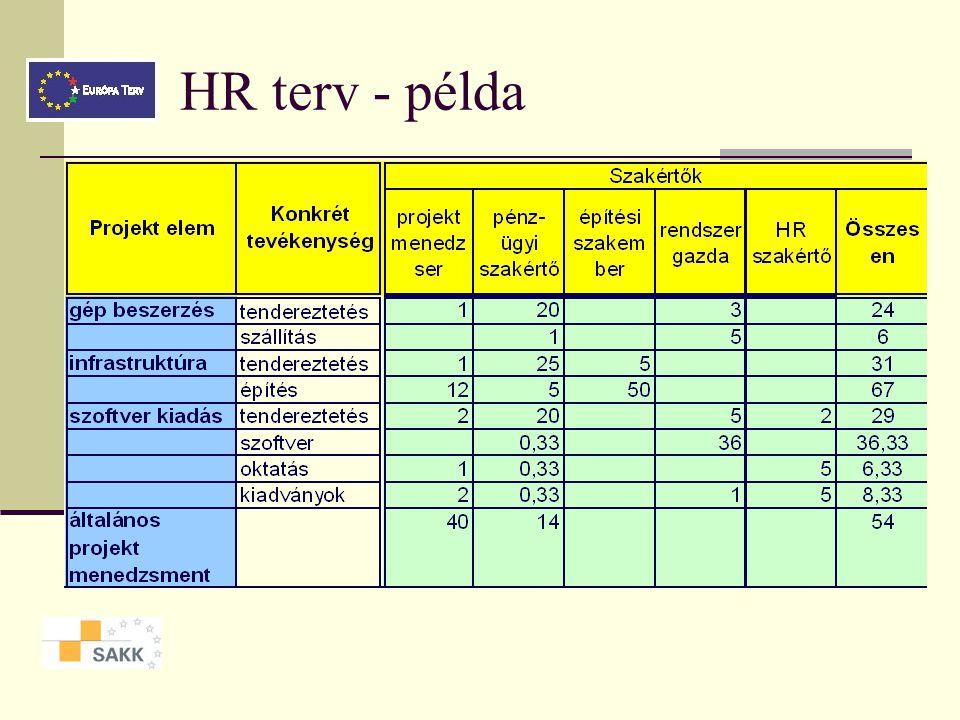 HR terv A humánerőforrások tervezése is szükséges rendelkezésre állás, szűk keresztmetszetek költségek felmérése Elemei kompetencia igények megahtároz