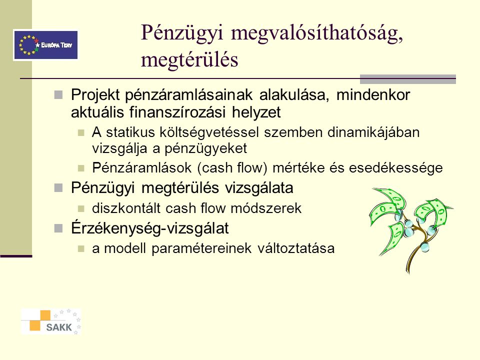 Projektköltségvetés Források rendelkezésre állásával kapcsolatos kockázatok Forrásszerkezet Költségszerkezet Költségtételek indokoltsága Források és k