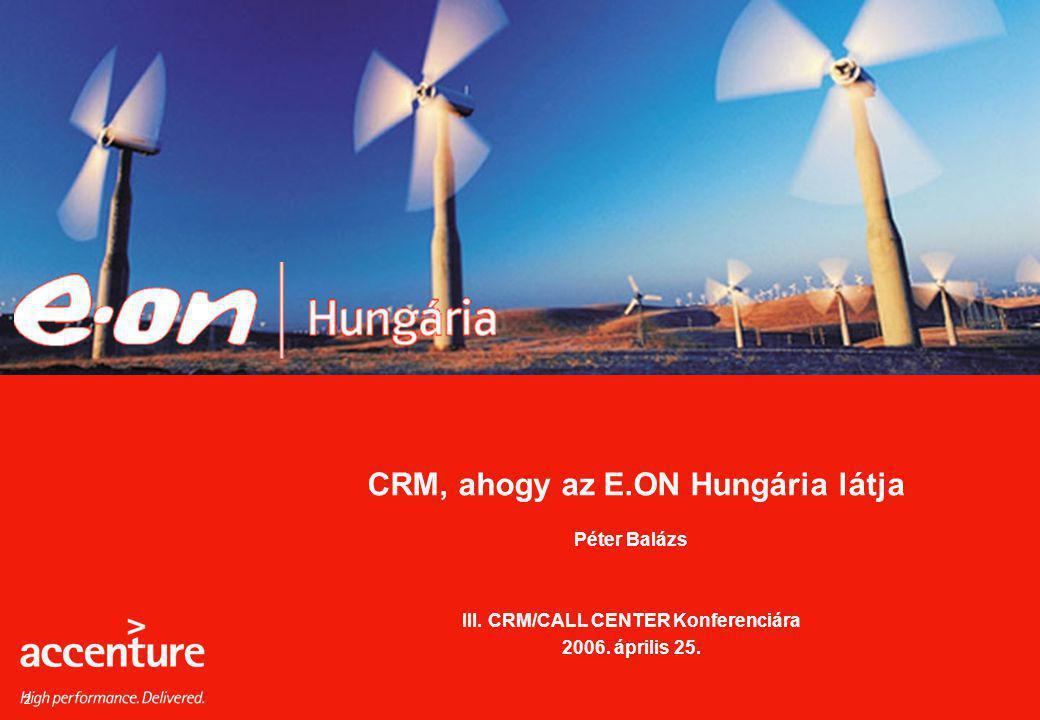 2 CRM, ahogy az E.ON Hungária látja Péter Balázs III. CRM/CALL CENTER Konferenciára 2006. április 25.