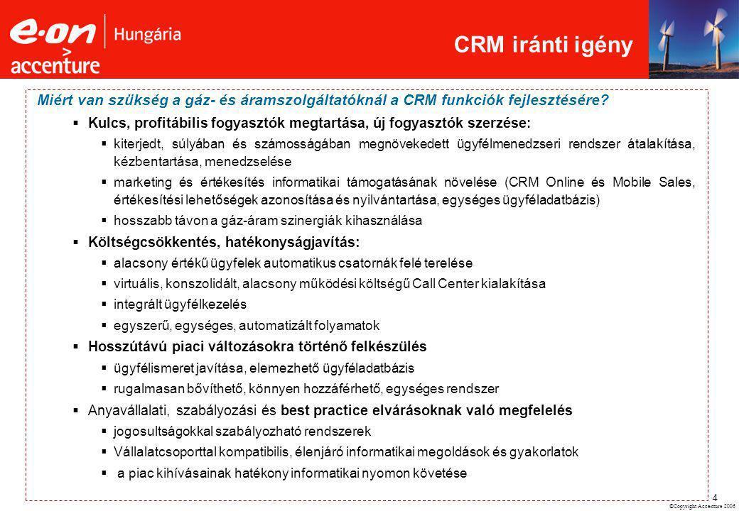 ©Copyright Accenture 2006 4 Miért van szükség a gáz- és áramszolgáltatóknál a CRM funkciók fejlesztésére?  Kulcs, profitábilis fogyasztók megtartása,