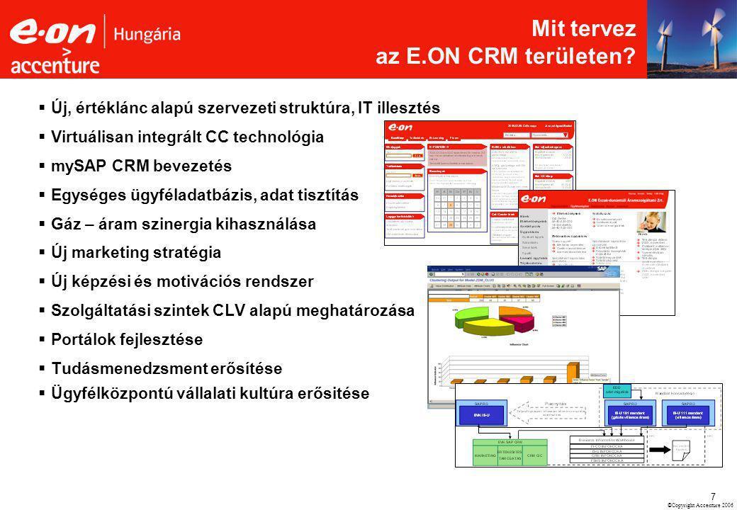 ©Copyright Accenture 2006 7  Új, értéklánc alapú szervezeti struktúra, IT illesztés  Virtuálisan integrált CC technológia  mySAP CRM bevezetés  Eg