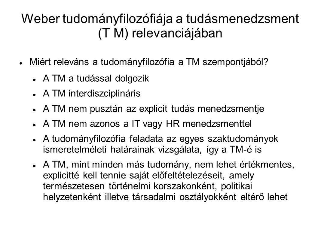 Weber tudományfilozófiája a tudásmenedzsment (T M) relevanciájában Miért releváns a tudományfilozófia a TM szempontjából? A TM a tudással dolgozik A T