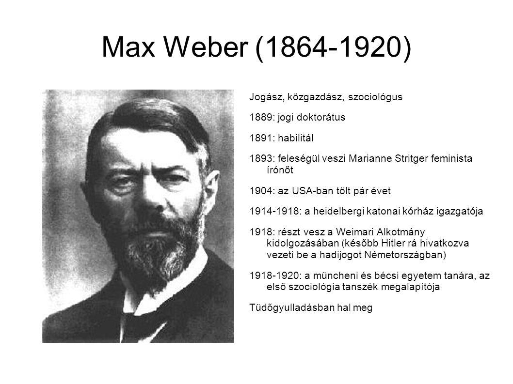 Max Weber (1864-1920) Jogász, közgazdász, szociológus 1889: jogi doktorátus 1891: habilitál 1893: feleségül veszi Marianne Stritger feminista írónőt 1