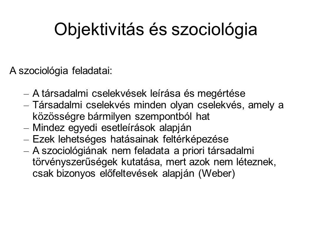 Objektivitás és szociológia A szociológia feladatai: – A társadalmi cselekvések leírása és megértése – Társadalmi cselekvés minden olyan cselekvés, am