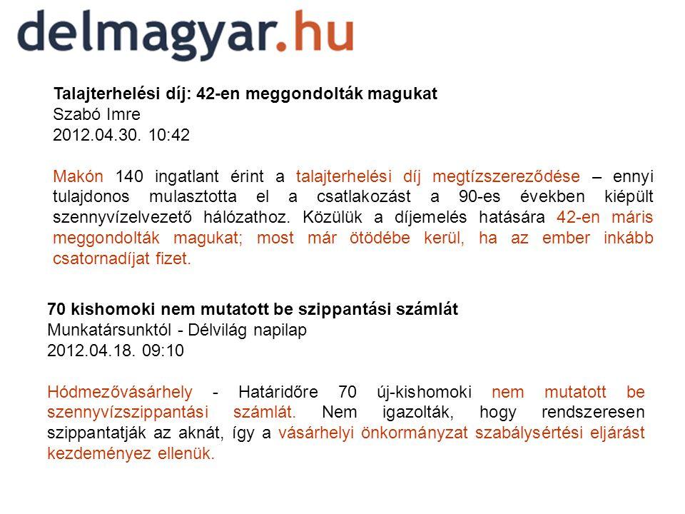 Talajterhelési díj: 42-en meggondolták magukat Szabó Imre 2012.04.30.