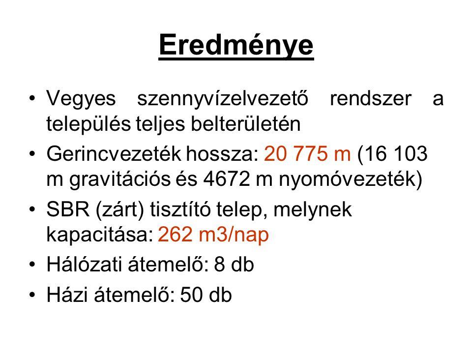 Eredménye Vegyes szennyvízelvezető rendszer a település teljes belterületén Gerincvezeték hossza: 20 775 m (16 103 m gravitációs és 4672 m nyomóvezeték) SBR (zárt) tisztító telep, melynek kapacitása: 262 m3/nap Hálózati átemelő: 8 db Házi átemelő: 50 db