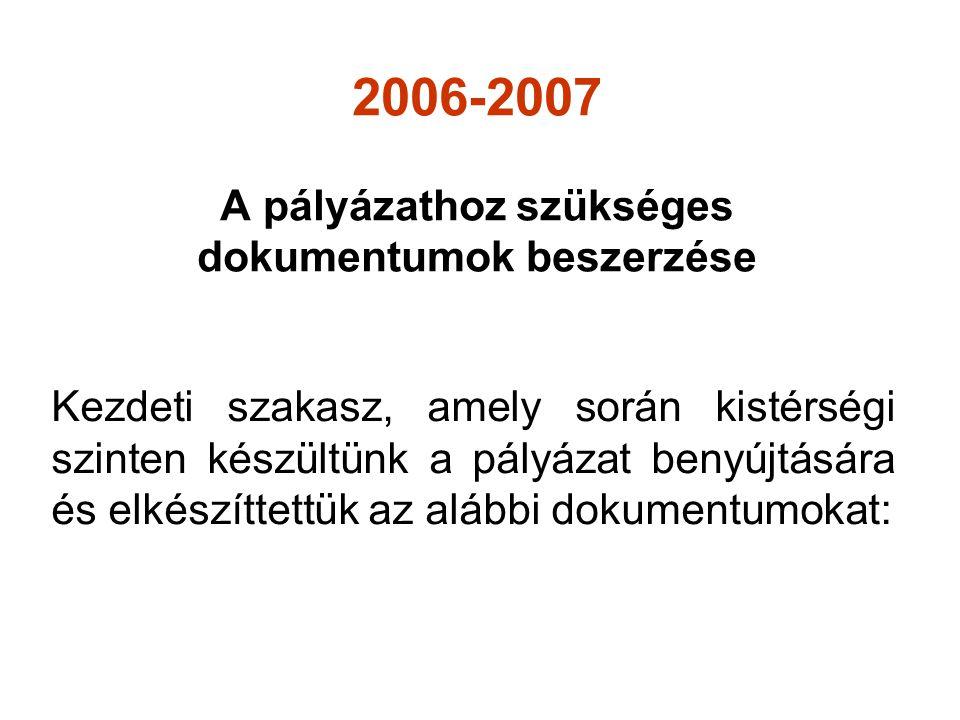 2006-2007 A pályázathoz szükséges dokumentumok beszerzése Kezdeti szakasz, amely során kistérségi szinten készültünk a pályázat benyújtására és elkészíttettük az alábbi dokumentumokat: