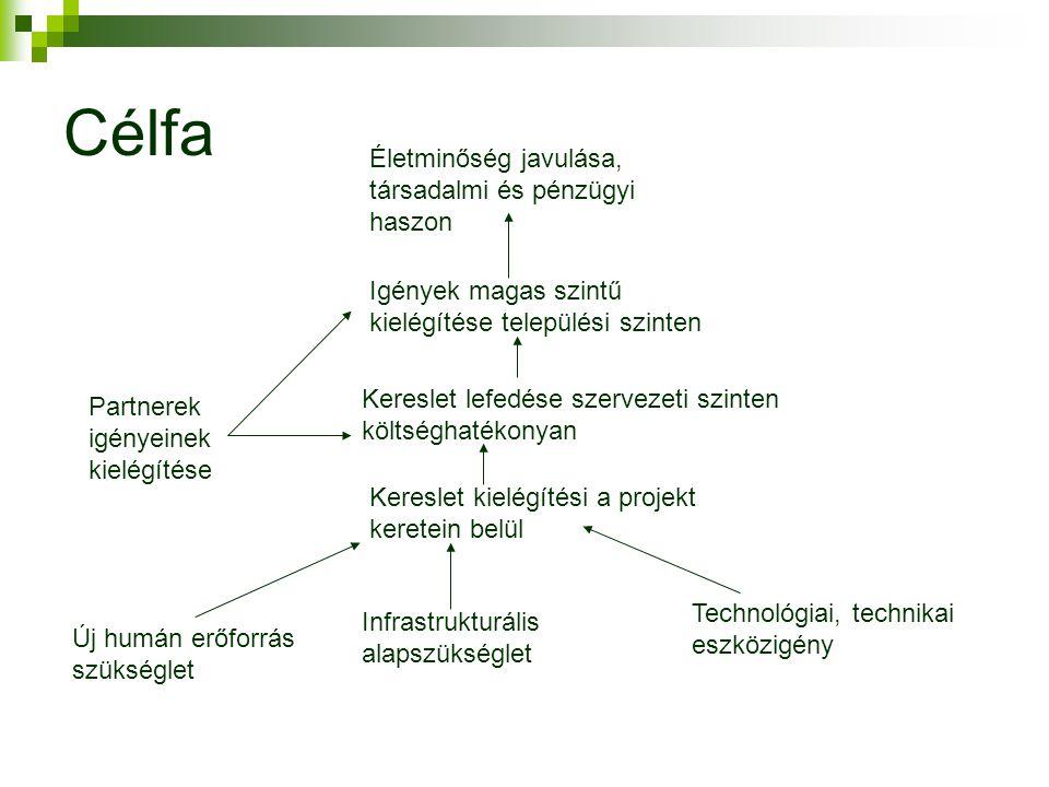 Célfa Új humán erőforrás szükséglet Infrastrukturális alapszükséglet Technológiai, technikai eszközigény Kereslet kielégítési a projekt keretein belül