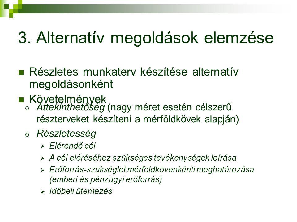 Részletes munkaterv készítése alternatív megoldásonként Követelmények 3. Alternatív megoldások elemzése o Áttekinthetőség (nagy méret esetén célszerű