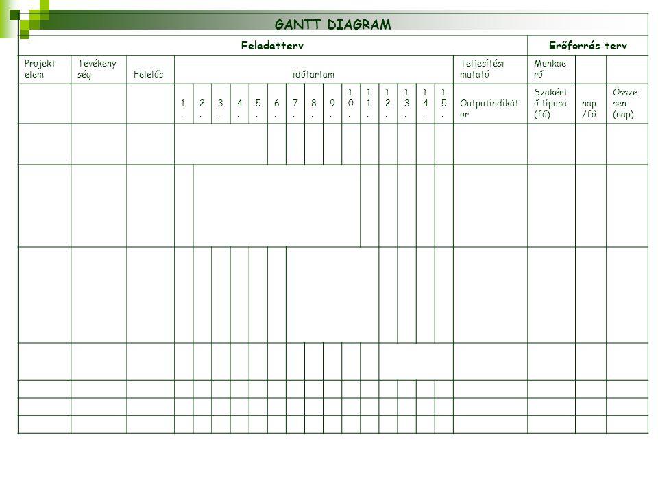 GANTT DIAGRAM FeladattervErőforrás terv Projekt elem Tevékeny ségFelelősidőtartam Teljesítési mutató Munkae rő 1.1. 2.2. 3.3. 4.4. 5.5. 6.6. 7.7. 8.8.