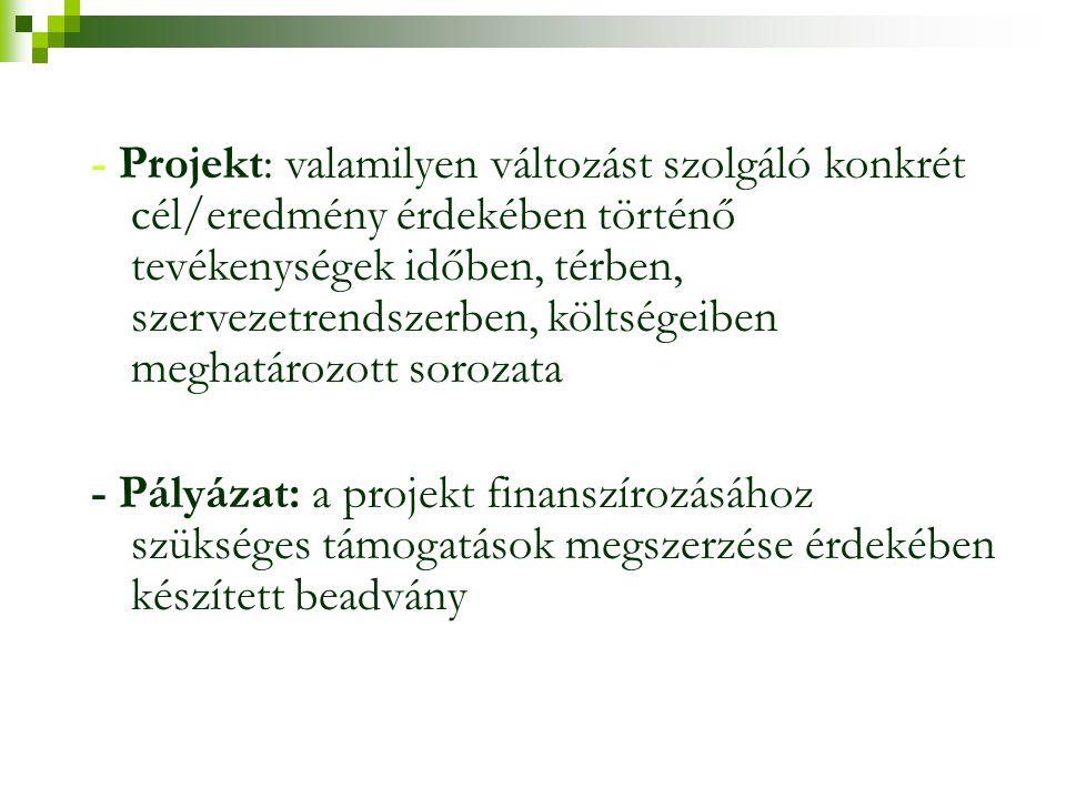 - Projekt: valamilyen változást szolgáló konkrét cél/eredmény érdekében történő tevékenységek időben, térben, szervezetrendszerben, költségeiben megha
