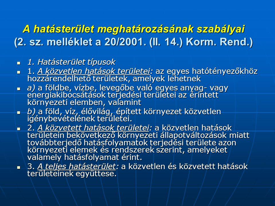A hatásterület meghatározásának szabályai (2.sz. melléklet a 20/2001.