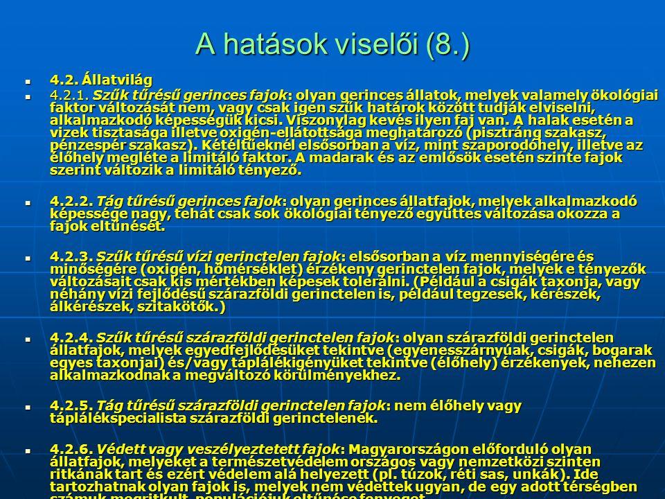 A hatások viselői (8.) 4.2. Állatvilág 4.2. Állatvilág 4.2.1. Szűk tűrésű gerinces fajok: olyan gerinces állatok, melyek valamely ökológiai faktor vál