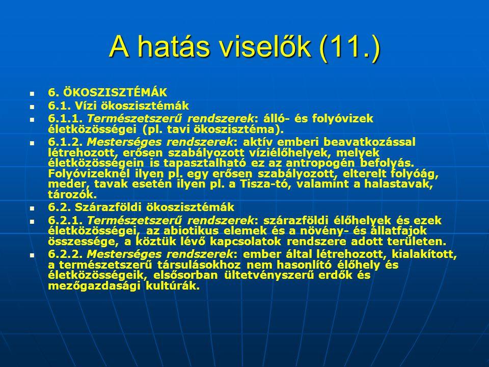 A hatás viselők (11.) 6.ÖKOSZISZTÉMÁK 6.1. Vízi ökoszisztémák 6.1.1.
