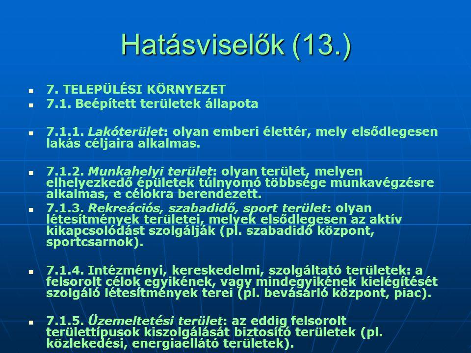 Hatásviselők (13.) 7.TELEPÜLÉSI KÖRNYEZET 7.1. Beépített területek állapota 7.1.1.