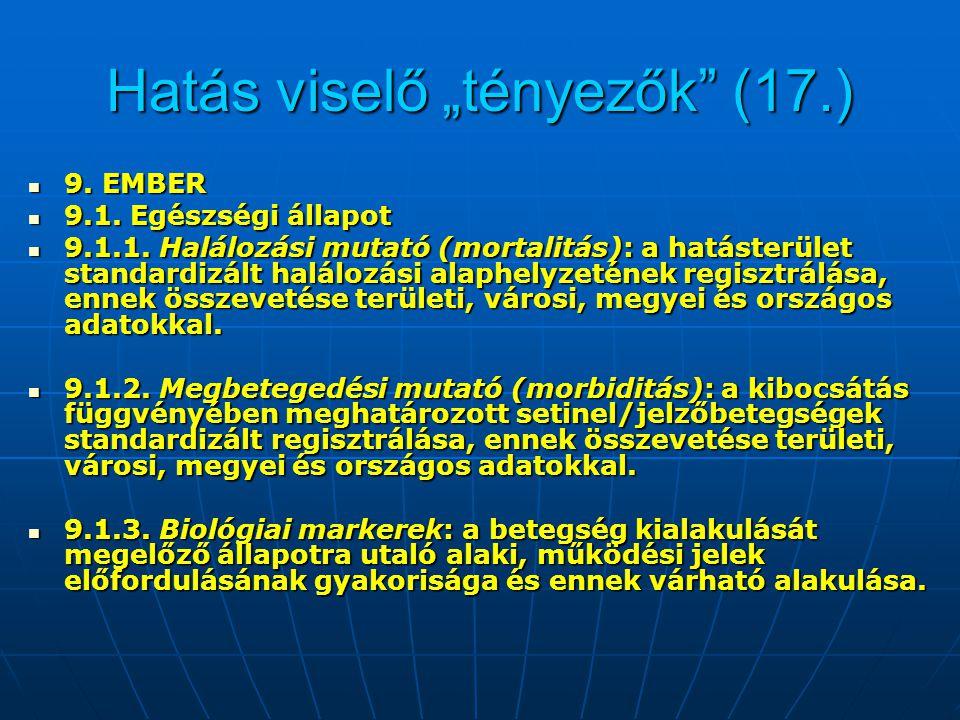 """Hatás viselő """"tényezők"""" (17.) 9. EMBER 9. EMBER 9.1. Egészségi állapot 9.1. Egészségi állapot 9.1.1. Halálozási mutató (mortalitás): a hatásterület st"""