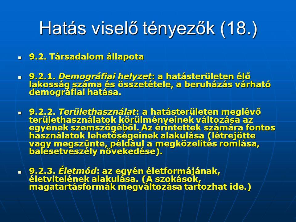 Hatás viselő tényezők (18.) 9.2. Társadalom állapota 9.2. Társadalom állapota 9.2.1. Demográfiai helyzet: a hatásterületen élő lakosság száma és össze