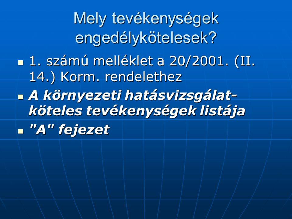 Mely tevékenységek engedélykötelesek? 1. számú melléklet a 20/2001. (II. 14.) Korm. rendelethez 1. számú melléklet a 20/2001. (II. 14.) Korm. rendelet