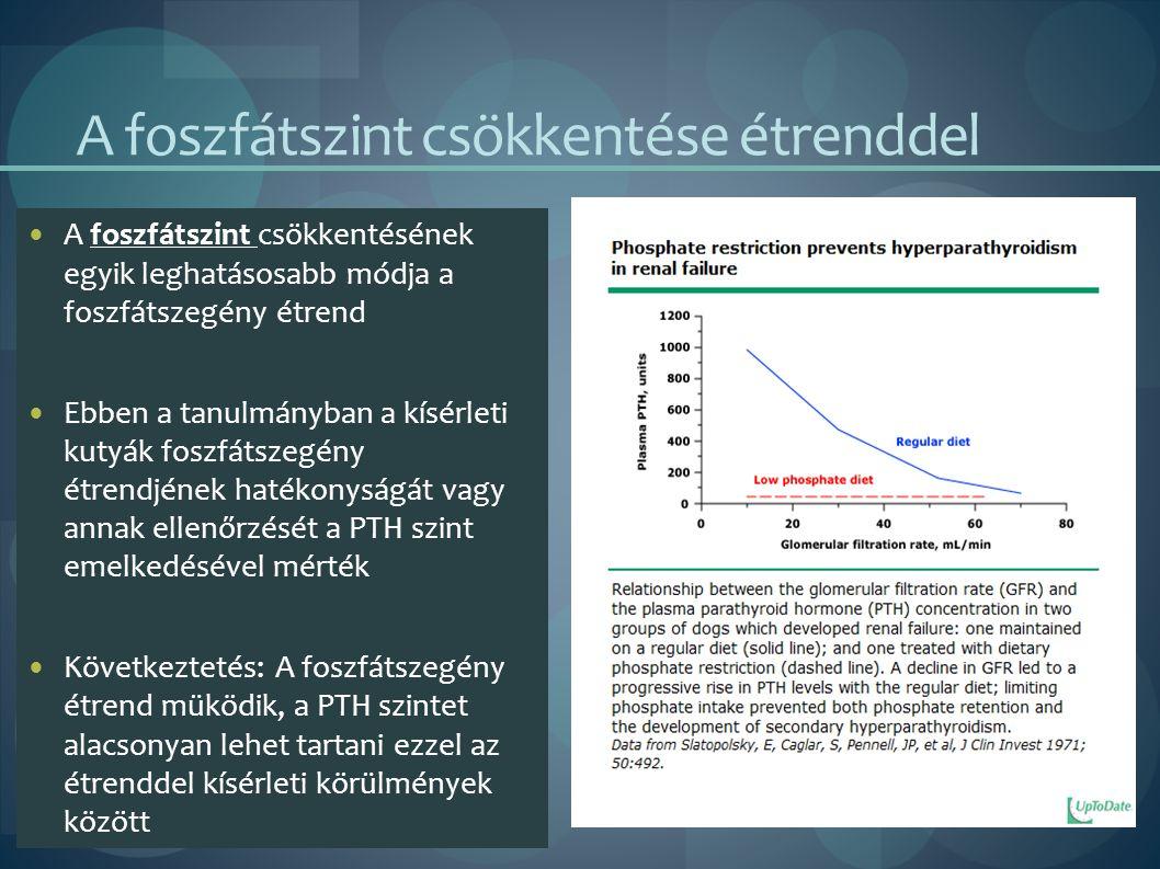 A foszfátszint csökkentése étrenddel A foszfátszint csökkentésének egyik leghatásosabb módja a foszfátszegény étrend Ebben a tanulmányban a kísérleti kutyák foszfátszegény étrendjének hatékonyságát vagy annak ellenőrzését a PTH szint emelkedésével mérték Következtetés: A foszfátszegény étrend müködik, a PTH szintet alacsonyan lehet tartani ezzel az étrenddel kísérleti körülmények között