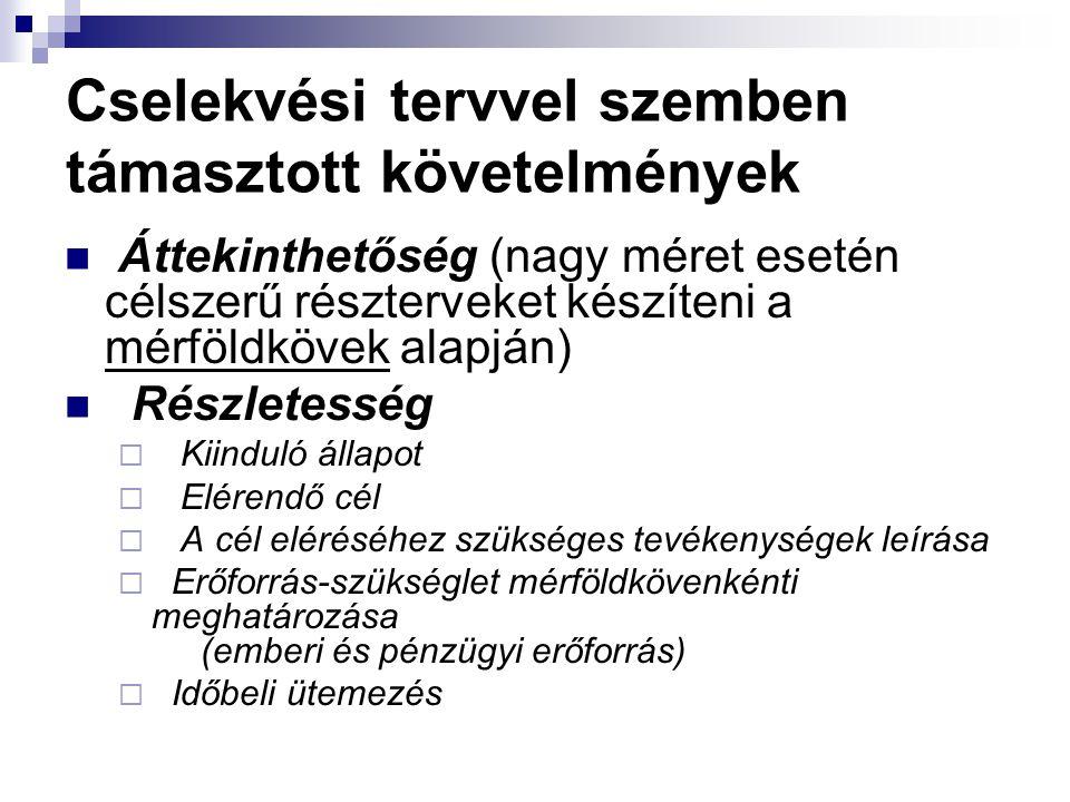 Cselekvési tervvel szemben támasztott követelmények Áttekinthetőség (nagy méret esetén célszerű részterveket készíteni a mérföldkövek alapján) Részlet