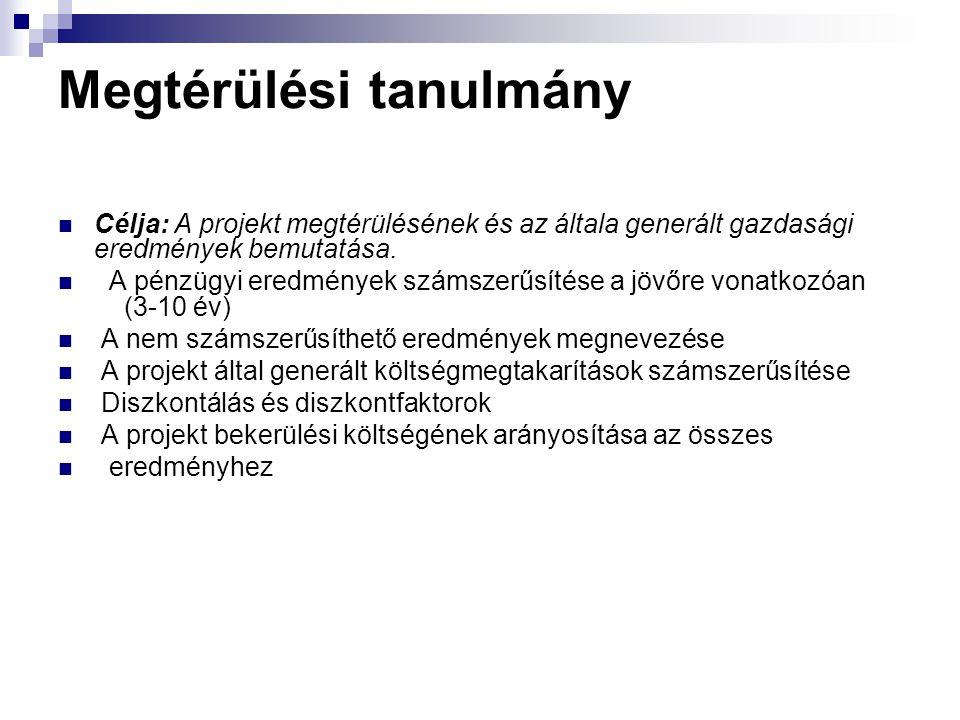 Megtérülési tanulmány Célja: A projekt megtérülésének és az általa generált gazdasági eredmények bemutatása. A pénzügyi eredmények számszerűsítése a j