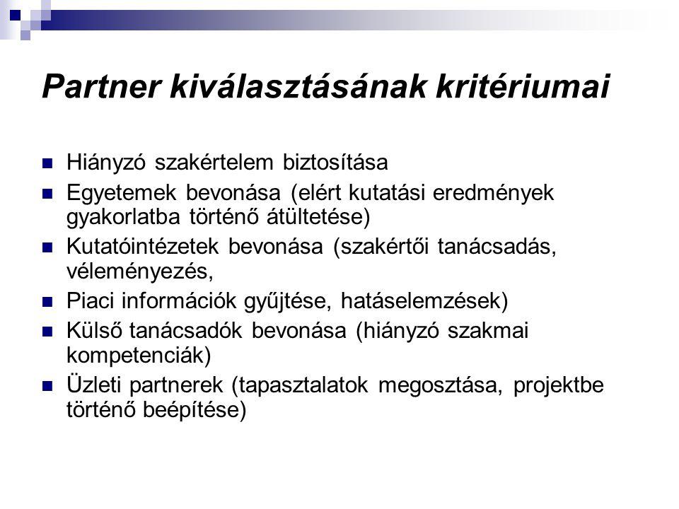 Partner kiválasztásának kritériumai Hiányzó szakértelem biztosítása Egyetemek bevonása (elért kutatási eredmények gyakorlatba történő átültetése) Kuta