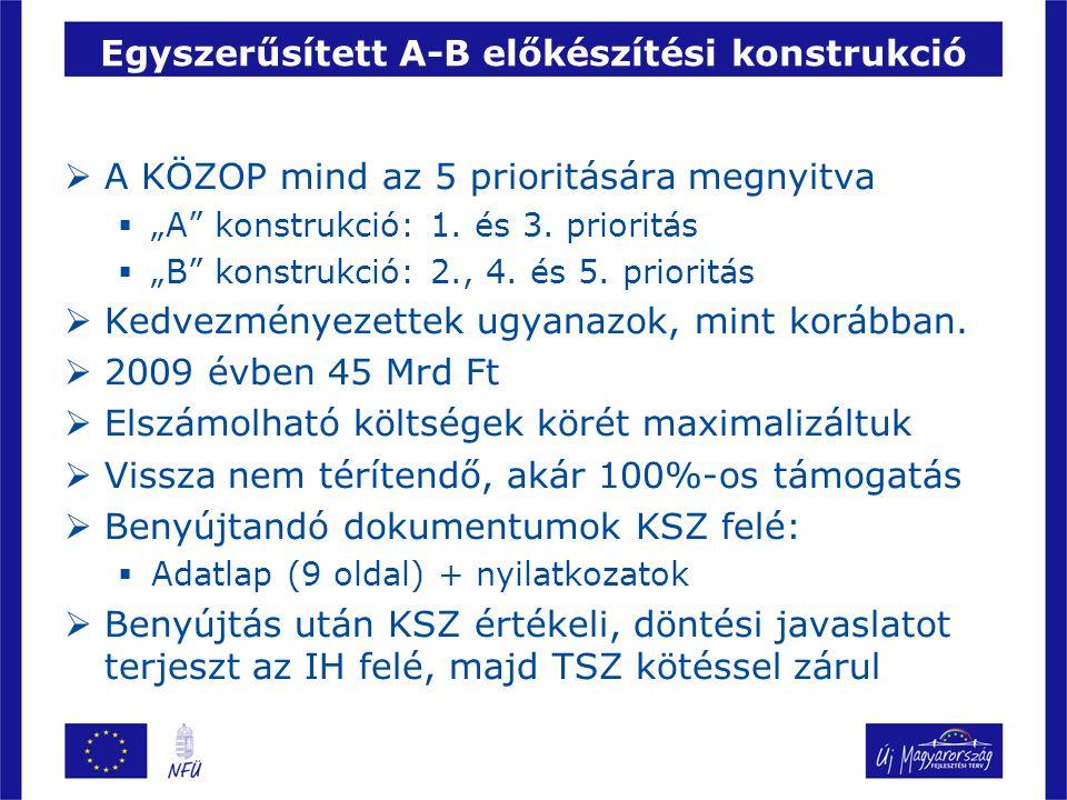 """Egyszerűsített A-B előkészítési konstrukció  A KÖZOP mind az 5 prioritására megnyitva  """"A konstrukció: 1."""