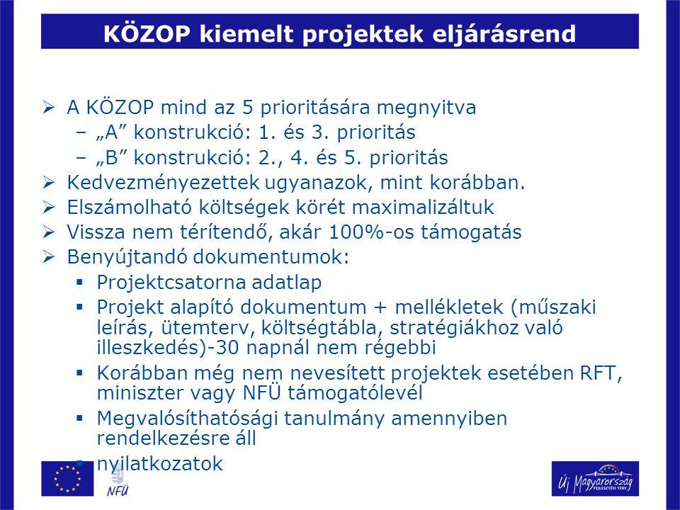 """KÖZOP kiemelt projektek eljárásrend  A KÖZOP mind az 5 prioritására megnyitva –""""A konstrukció: 1."""
