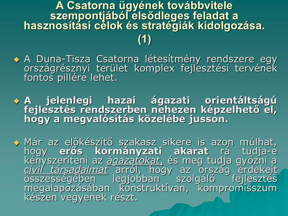 A Csatorna ügyének továbbvitele szempontjából elsődleges feladat a hasznosítási célok és stratégiák kidolgozása. (1)  A Duna-Tisza Csatorna létesítmé