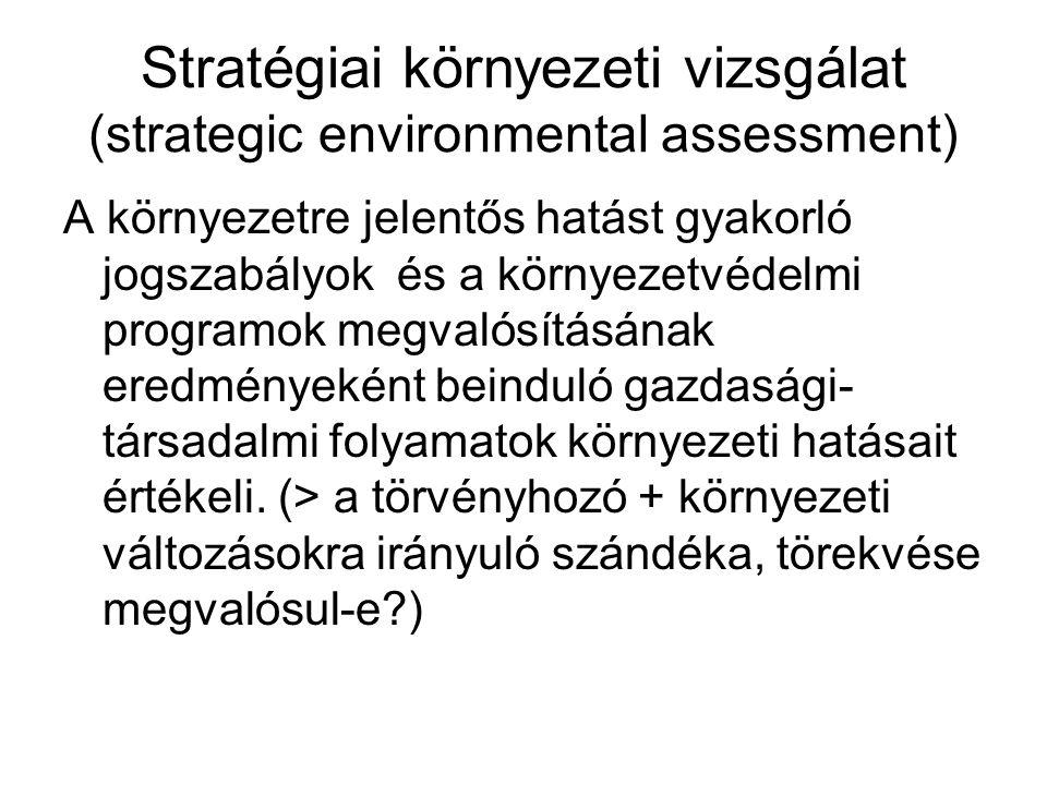 Stratégiai környezeti vizsgálat (strategic environmental assessment) A környezetre jelentős hatást gyakorló jogszabályok és a környezetvédelmi programok megvalósításának eredményeként beinduló gazdasági- társadalmi folyamatok környezeti hatásait értékeli.