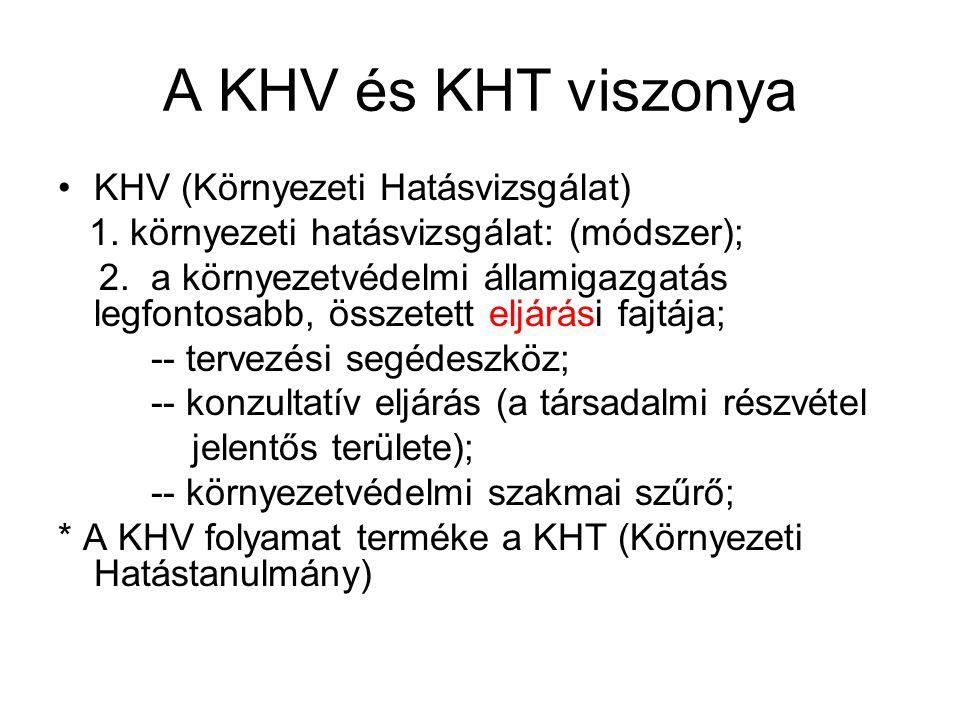 A KHV és KHT viszonya KHV (Környezeti Hatásvizsgálat) 1.