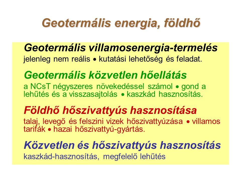 Geotermális energia, földhő Geotermális villamosenergia-termelés jelenleg nem reális  kutatási lehetőség és feladat.