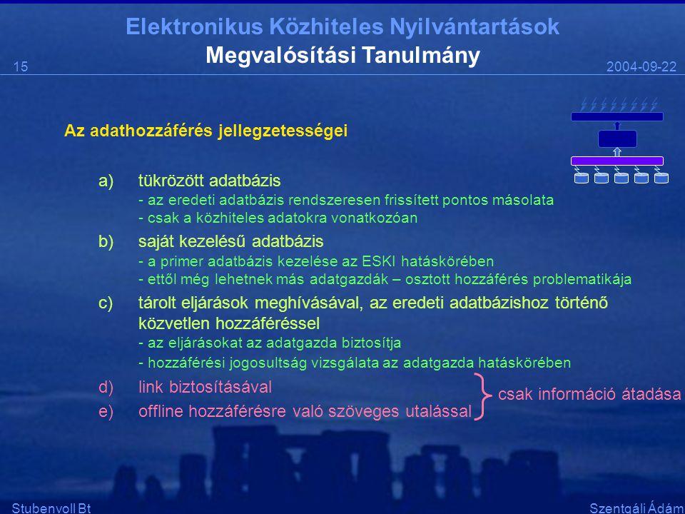 Elektronikus Közhiteles Nyilvántartások 2004-09-2215 Stubenvoll BtSzentgáli Ádám Megvalósítási Tanulmány Az adathozzáférés jellegzetességei a)tükrözött adatbázis - az eredeti adatbázis rendszeresen frissített pontos másolata - csak a közhiteles adatokra vonatkozóan b)saját kezelésű adatbázis - a primer adatbázis kezelése az ESKI hatáskörében - ettől még lehetnek más adatgazdák – osztott hozzáférés problematikája c)tárolt eljárások meghívásával, az eredeti adatbázishoz történő közvetlen hozzáféréssel - az eljárásokat az adatgazda biztosítja - hozzáférési jogosultság vizsgálata az adatgazda hatáskörében d)link biztosításával e)offline hozzáférésre való szöveges utalással csak információ átadása