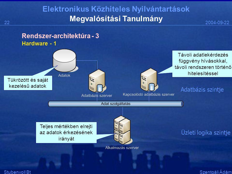 Elektronikus Közhiteles Nyilvántartások 2004-09-2222 Stubenvoll BtSzentgáli Ádám Megvalósítási Tanulmány Hardware - 1 Rendszer-architektúra - 3 Üzleti logika szintje Adatbázis szintje Teljes mértékben elrejti az adatok érkezésének irányát Tükrözött és saját kezelésű adatok Távoli adatlekérdezés függvény hívásokkal, távoli rendszeren történő hitelesítéssel