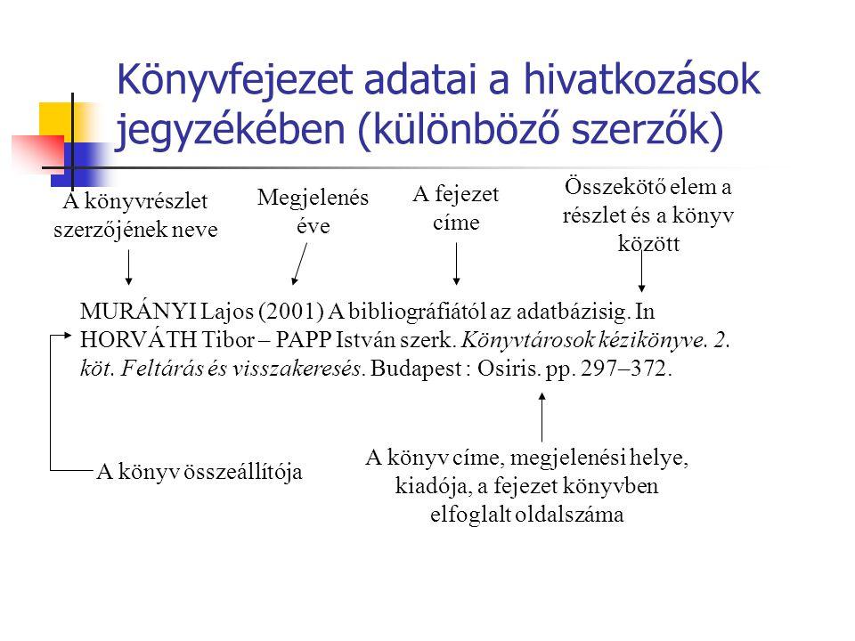 Könyvfejezet adatai a hivatkozások jegyzékében (különböző szerzők) MURÁNYI Lajos (2001) A bibliográfiától az adatbázisig. In HORVÁTH Tibor – PAPP Istv