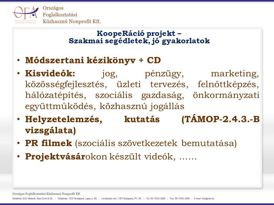 KoopeRáció projekt – Szakmai segédletek, jó gyakorlatok Módszertani kézikönyv + CD Kisvideók: jog, pénzügy, marketing, közösségfejlesztés, üzleti terv