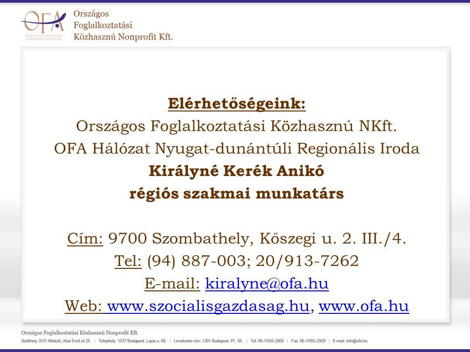Elérhetőségeink: Országos Foglalkoztatási Közhasznú NKft. OFA Hálózat Nyugat-dunántúli Regionális Iroda Királyné Kerék Anikó régiós szakmai munkatárs
