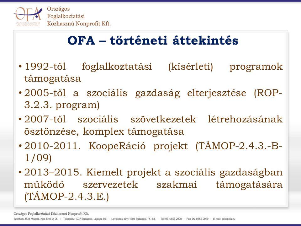 OFA – történeti áttekintés 1992-től foglalkoztatási (kísérleti) programok támogatása 2005-től a szociális gazdaság elterjesztése (ROP- 3.2.3. program)