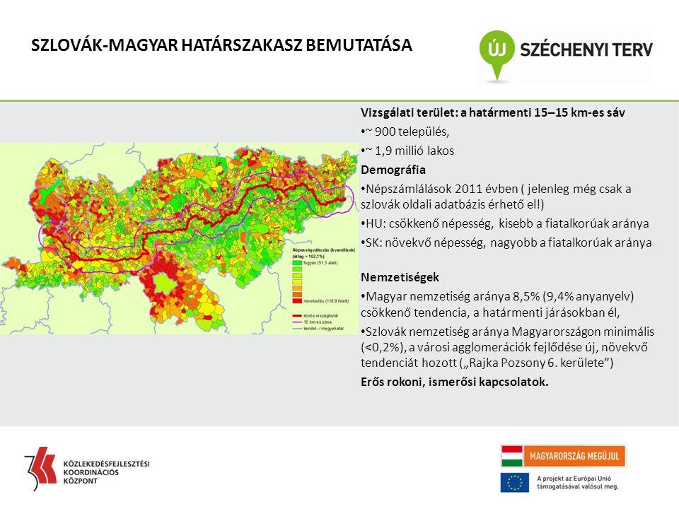 """SZLOVÁK-MAGYAR HATÁRSZAKASZ BEMUTATÁSA Vizsgálati terület: a határmenti 15–15 km-es sáv ~ 900 település, ~ 1,9 millió lakos Demográfia Népszámlálások 2011 évben ( jelenleg még csak a szlovák oldali adatbázis érhető el!) HU: csökkenő népesség, kisebb a fiatalkorúak aránya SK: növekvő népesség, nagyobb a fiatalkorúak aránya Nemzetiségek Magyar nemzetiség aránya 8,5% (9,4% anyanyelv) csökkenő tendencia, a határmenti járásokban él, Szlovák nemzetiség aránya Magyarországon minimális (<0,2%), a városi agglomerációk fejlődése új, növekvő tendenciát hozott (""""Rajka Pozsony 6."""