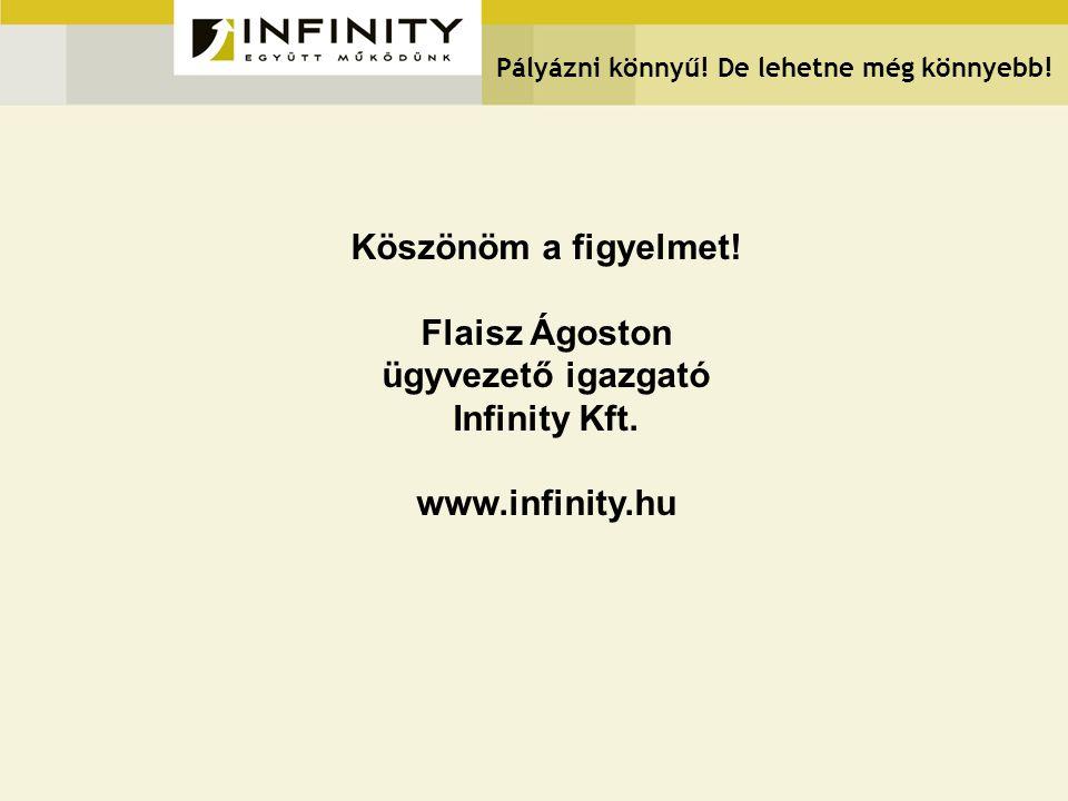 Pályázni könnyű! De lehetne még könnyebb! Köszönöm a figyelmet! Flaisz Ágoston ügyvezető igazgató Infinity Kft. www.infinity.hu