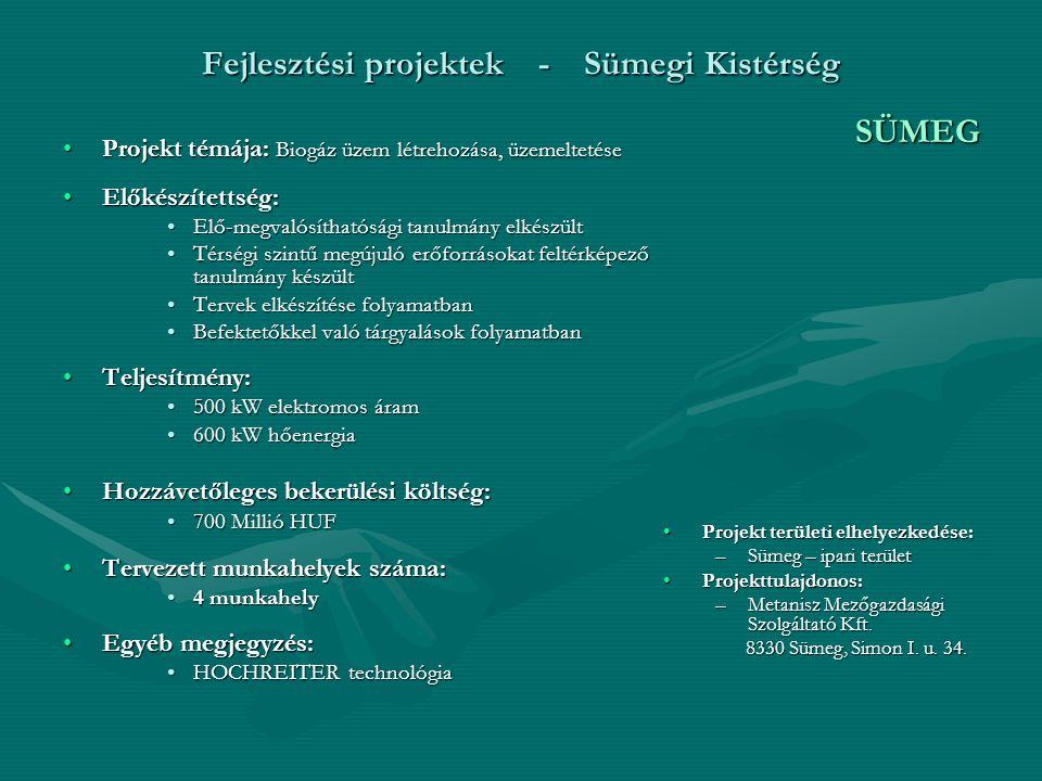 Fejlesztési projektek - Sümegi Kistérség Projekt témája: Termálfürdő - biofalu építéseProjekt témája: Termálfürdő - biofalu építése Előkészítettség:Előkészítettség: Látványtervek elkészültekLátványtervek elkészültek Elő-megvalósíthatósági tanulmány és marketing terv elkészültElő-megvalósíthatósági tanulmány és marketing terv elkészült Kulturális örökségvédelmi hatástanulmány elkészültKulturális örökségvédelmi hatástanulmány elkészült Teljesítmény:Teljesítmény: 930 kW elektromos áram930 kW elektromos áram 470 kW hőenergia470 kW hőenergia Hozzávetőleges bekerülési költség:Hozzávetőleges bekerülési költség: 10-12 Milliárd HUF10-12 Milliárd HUF Tervezett munkahelyek száma:Tervezett munkahelyek száma: 750 – 800 munkahely750 – 800 munkahely Egyéb megjegyzés:Egyéb megjegyzés: Az önkormányzat társtulajdonosi jogot tart fenn projektbenAz önkormányzat társtulajdonosi jogot tart fenn projektben 70-80% trágya, 20 % zöld alapanyag70-80% trágya, 20 % zöld alapanyag CSABRENDEK Projekt területi elhelyezkedése: Csabrendek, Hosztót, Veszprémgalsa, Szentimrefalva, Zalaszegvár Az ingatlan területe: 115 ha Tulajdonos: Csabrendek, Hosztót, Veszprémgalsa, Szentimrefalva, Zalaszegvár