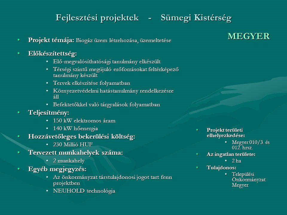 Fejlesztési projektek - Sümegi Kistérség Projekt témája: Biogáz üzem létrehozása, üzemeltetéseProjekt témája: Biogáz üzem létrehozása, üzemeltetése Előkészítettség:Előkészítettség: Elő-megvalósíthatósági tanulmány elkészültElő-megvalósíthatósági tanulmány elkészült Térségi szintű megújuló erőforrásokat feltérképező tanulmány készültTérségi szintű megújuló erőforrásokat feltérképező tanulmány készült Tervek elkészítése folyamatbanTervek elkészítése folyamatban Környezetvédelmi hatástanulmány rendelkezésre állKörnyezetvédelmi hatástanulmány rendelkezésre áll Befektetőkkel való tárgyalások folyamatbanBefektetőkkel való tárgyalások folyamatban Teljesítmény:Teljesítmény: 150 kW elektromos áram150 kW elektromos áram 140 kW hőenergia140 kW hőenergia Hozzávetőleges bekerülési költség:Hozzávetőleges bekerülési költség: 230 Millió HUF230 Millió HUF Tervezett munkahelyek száma:Tervezett munkahelyek száma: 2 munkahely2 munkahely Egyéb megjegyzés:Egyéb megjegyzés: Az önkormányzat társtulajdonosi jogot tart fenn projektbenAz önkormányzat társtulajdonosi jogot tart fenn projektben NEUHOLD technológiaNEUHOLD technológia MEGYER Projekt területi elhelyezkedése: Megyer 010/3.