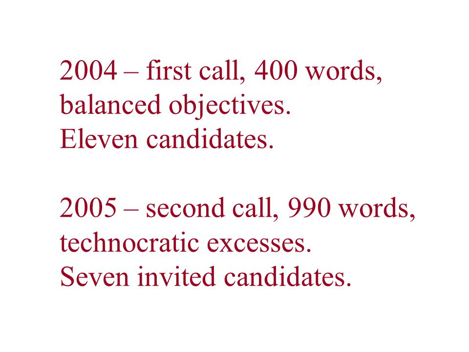 2004 – first call, 400 words, balanced objectives. Eleven candidates. 2005 – second call, 990 words, technocratic excesses. Seven invited candidates.