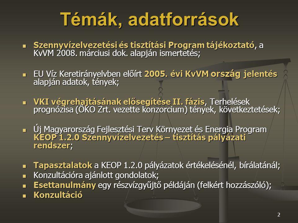 2 Témák, adatforrások Szennyvízelvezetési és tisztítási Program tájékoztató, a KvVM 2008.