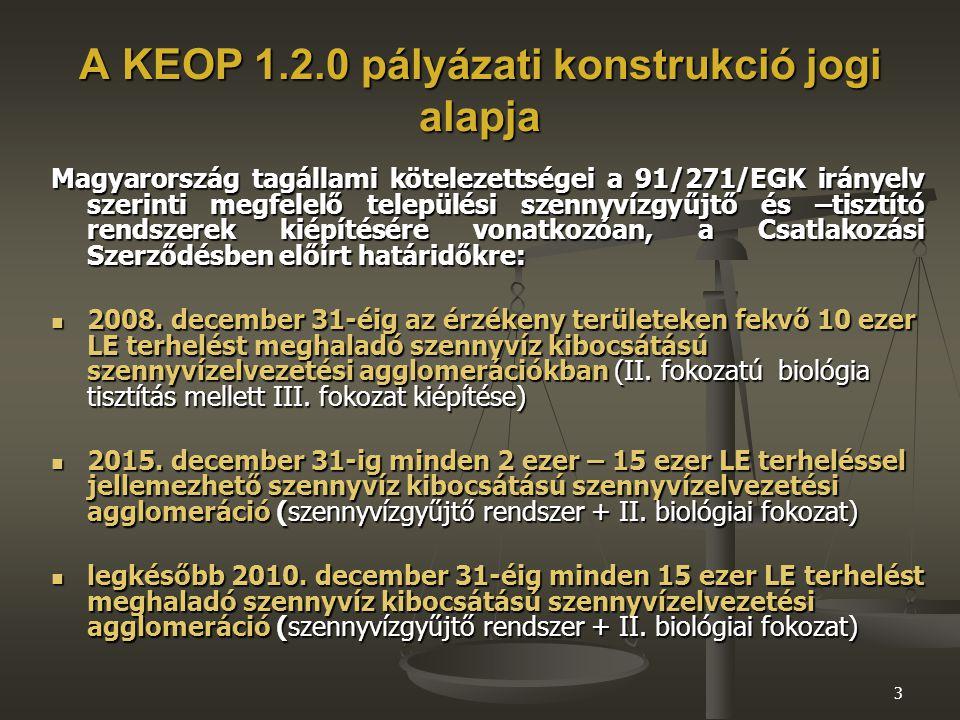 3 A KEOP 1.2.0 pályázati konstrukció jogi alapja Magyarország tagállami kötelezettségei a 91/271/EGK irányelv szerinti megfelelő települési szennyvízgyűjtő és –tisztító rendszerek kiépítésére vonatkozóan, a Csatlakozási Szerződésben előírt határidőkre: 2008.